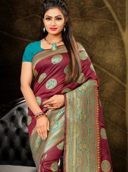 Art Silk Wine Designer Traditional Saree