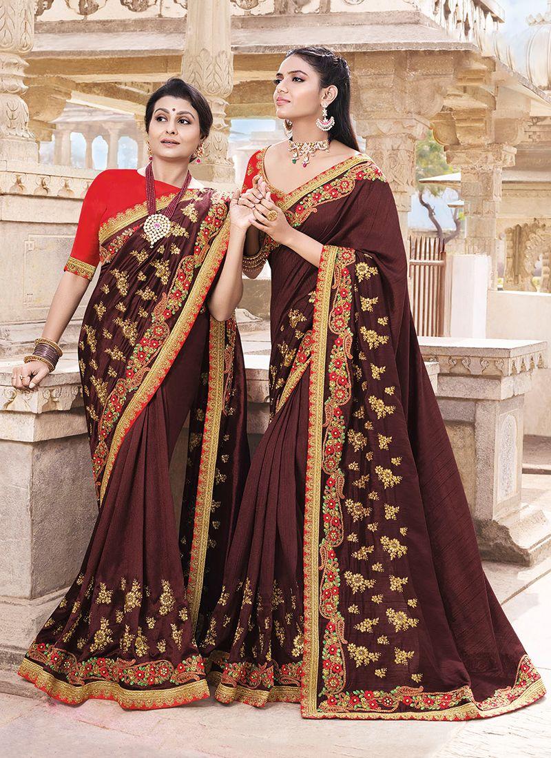 Art Silk Wine Designer Traditional Saree
