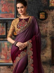 Art Silk Wine Shaded Saree