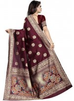 Art Silk Wine Traditional Designer Saree