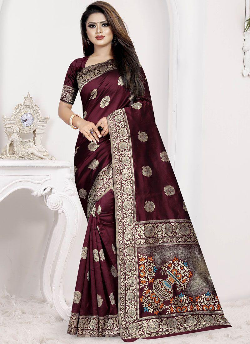 Art Silk Wine Traditional Designer Saree