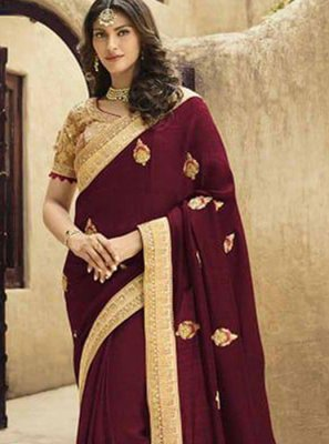 Art Silk Wine Traditional Saree