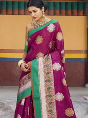 Art Silk Wine Weaving Designer Traditional Saree