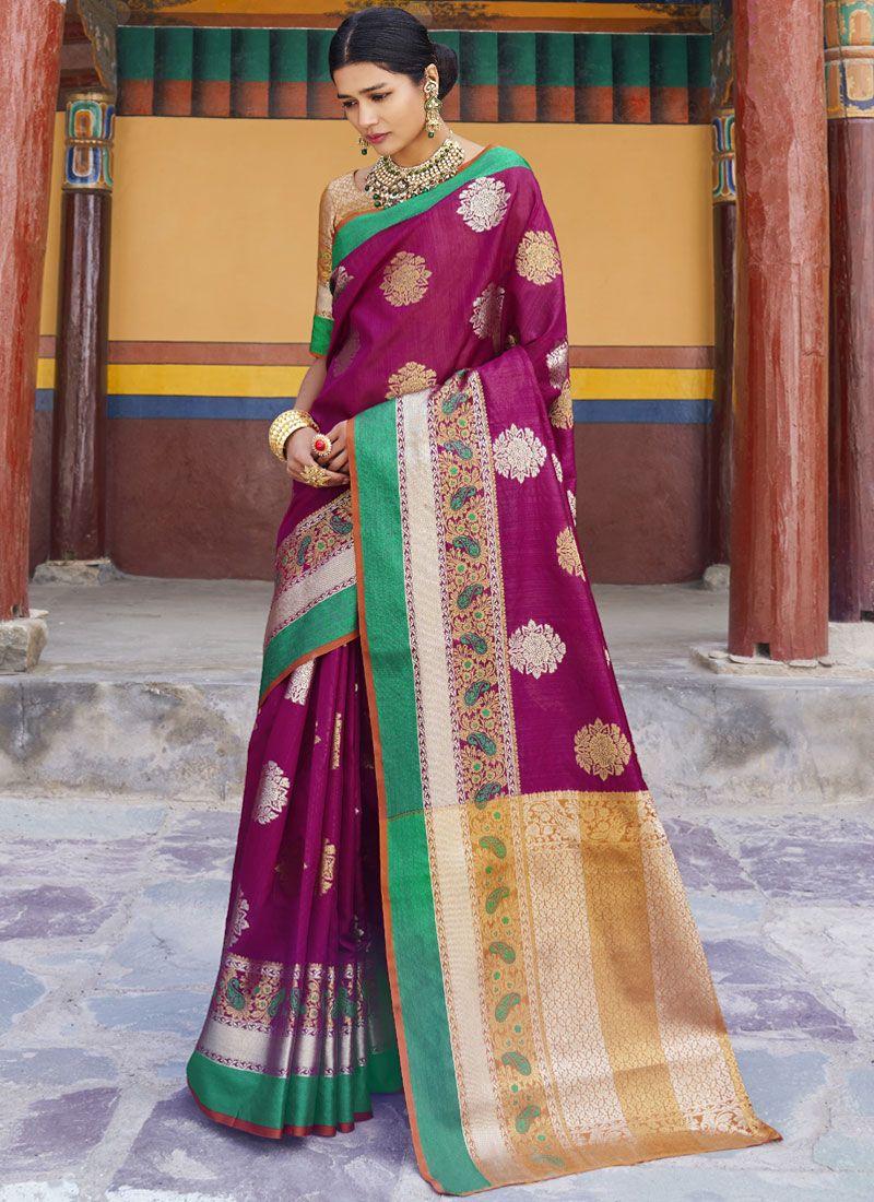 Art Silk Wine Weaving Designer Traditional Saree