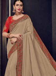 Art Silk Woven Beige Traditional Designer Saree