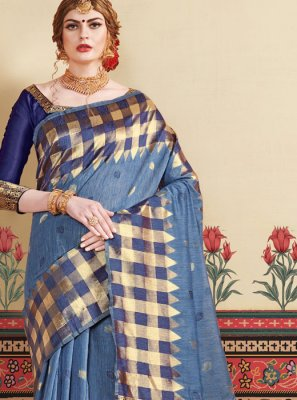 Art Silk Woven Blue Traditional Designer Saree