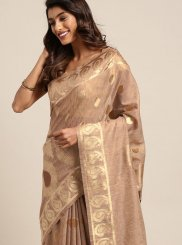 Art Silk Woven Brown Traditional Saree