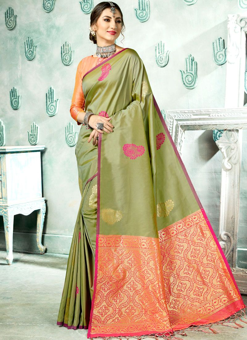 Art Silk Woven Classic Saree in Green