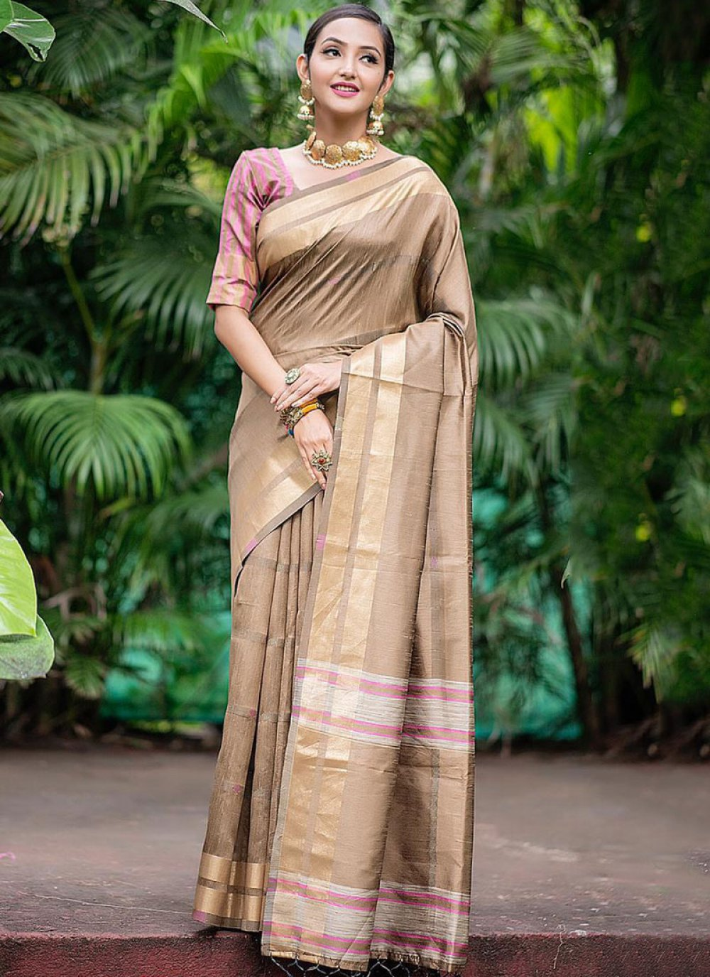 Art Silk Woven Cream Traditional Saree