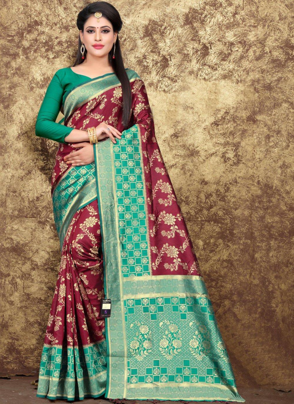 Art Silk Woven Designer Saree in Maroon