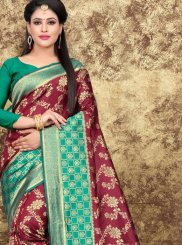 Art Silk Woven Designer Saree in Maroon