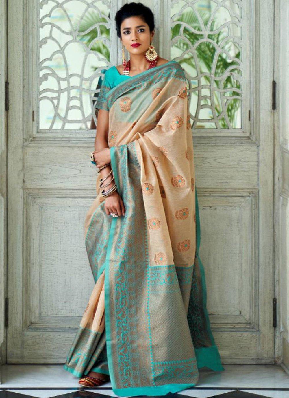 Art Silk Woven Designer Traditional Saree in Beige