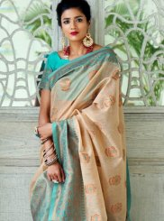 Art Silk Woven Designer Traditional Saree in Beige