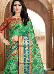 Art Silk Woven Designer Traditional Saree in Green