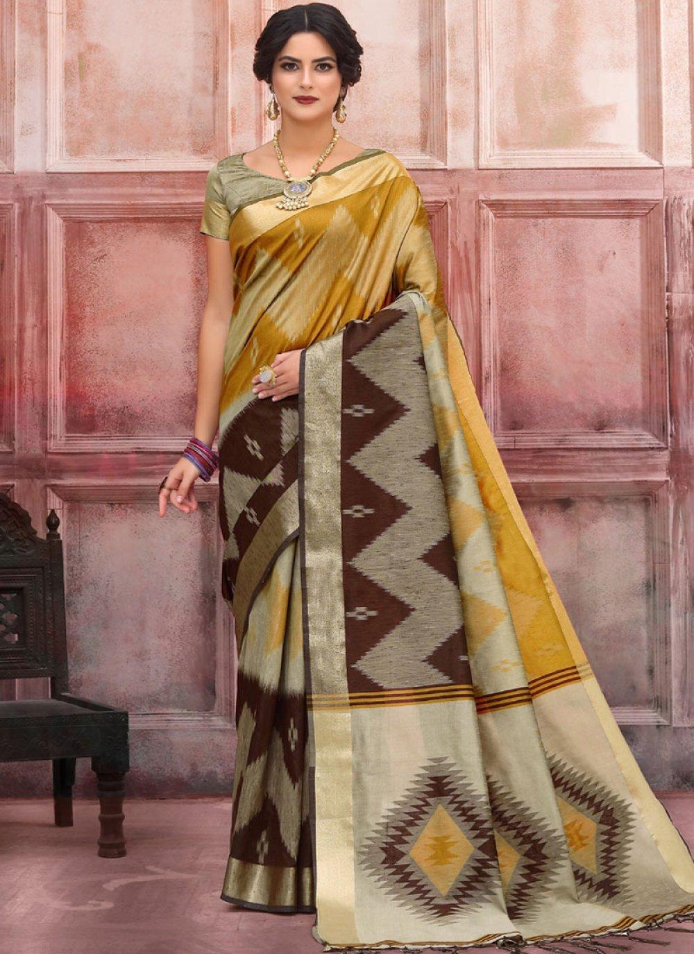 Art Silk Woven Designer Traditional Saree in Mustard