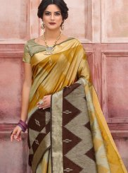 Art Silk Woven Designer Traditional Saree in Mustard