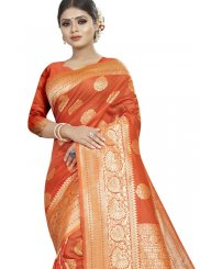 Art Silk Woven Designer Traditional Saree in Orange