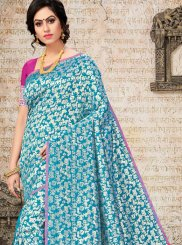 Art Silk Woven Firozi Traditional Saree