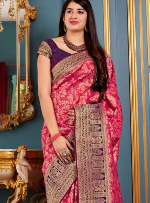 Art Silk Woven Hot Pink Traditional Designer Saree