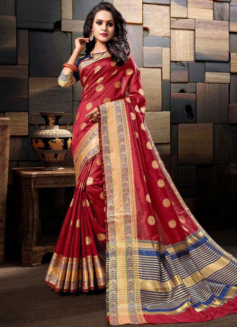 Art Silk Woven Maroon Traditional Saree