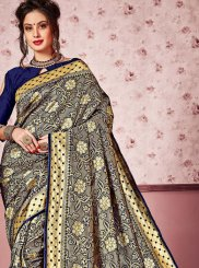 Art Silk Woven Navy Blue Classic Saree