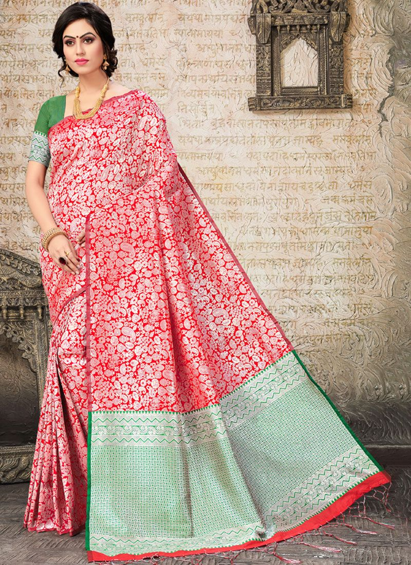 Art Silk Woven Pink Designer Traditional Saree