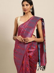 Art Silk Woven Pink Traditional Designer Saree