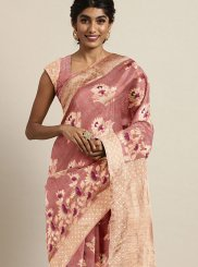 Art Silk Woven Pink Traditional Designer Saree