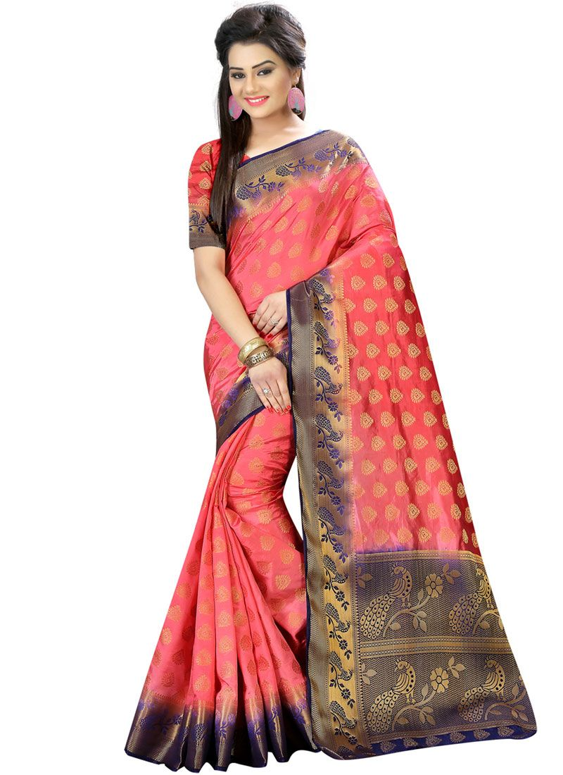 Art Silk Woven Pink Traditional Saree