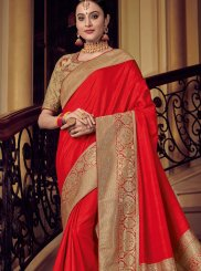 Art Silk Woven Red Designer Traditional Saree