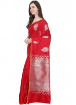 Art Silk Woven Red Traditional Designer Saree