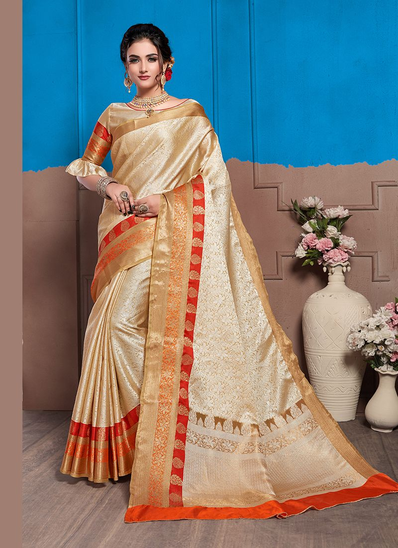 Art Silk Woven Traditional Designer Saree in Cream