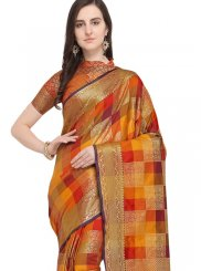 Art Silk Woven Traditional Designer Saree in Multi Colour