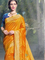 Art Silk Woven Traditional Saree in Mustard