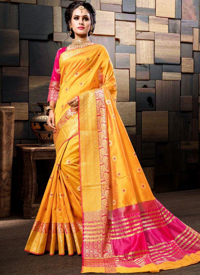 Art Silk Woven Yellow Designer Traditional Saree
