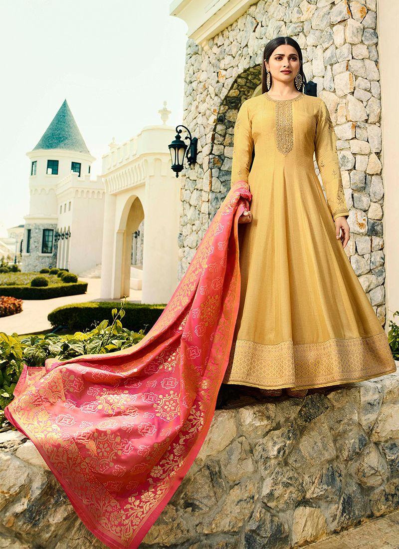 Art Silk Yellow Anarkali Salwar Suit