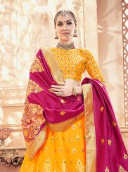 Art Silk Yellow Designer Lehenga Choli