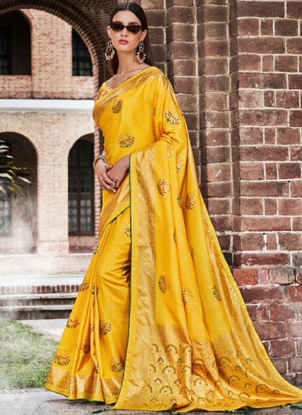 Art Silk Yellow Embroidered Designer Traditional Saree