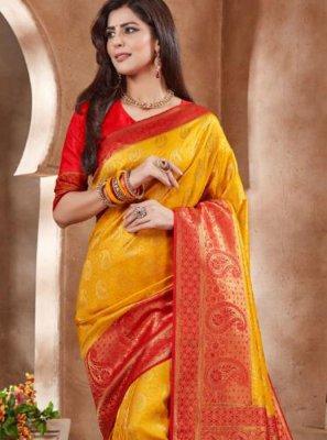 Art Silk Yellow Embroidered Designer Traditional Saree