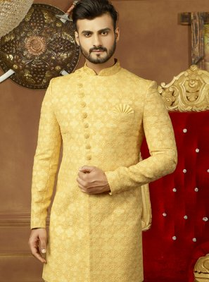 Art Silk Yellow Embroidered Indo Western