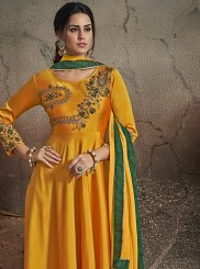 Art Silk Yellow Embroidered Readymade Gown