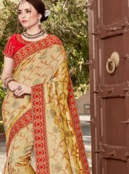 Art Silk Yellow Embroidered Traditional Saree
