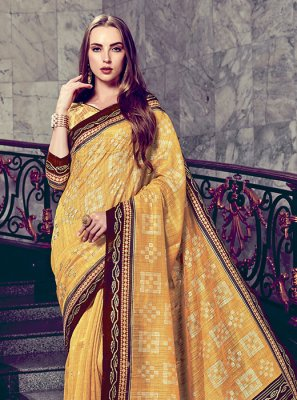 Art Silk Yellow Foil print Trendy Saree