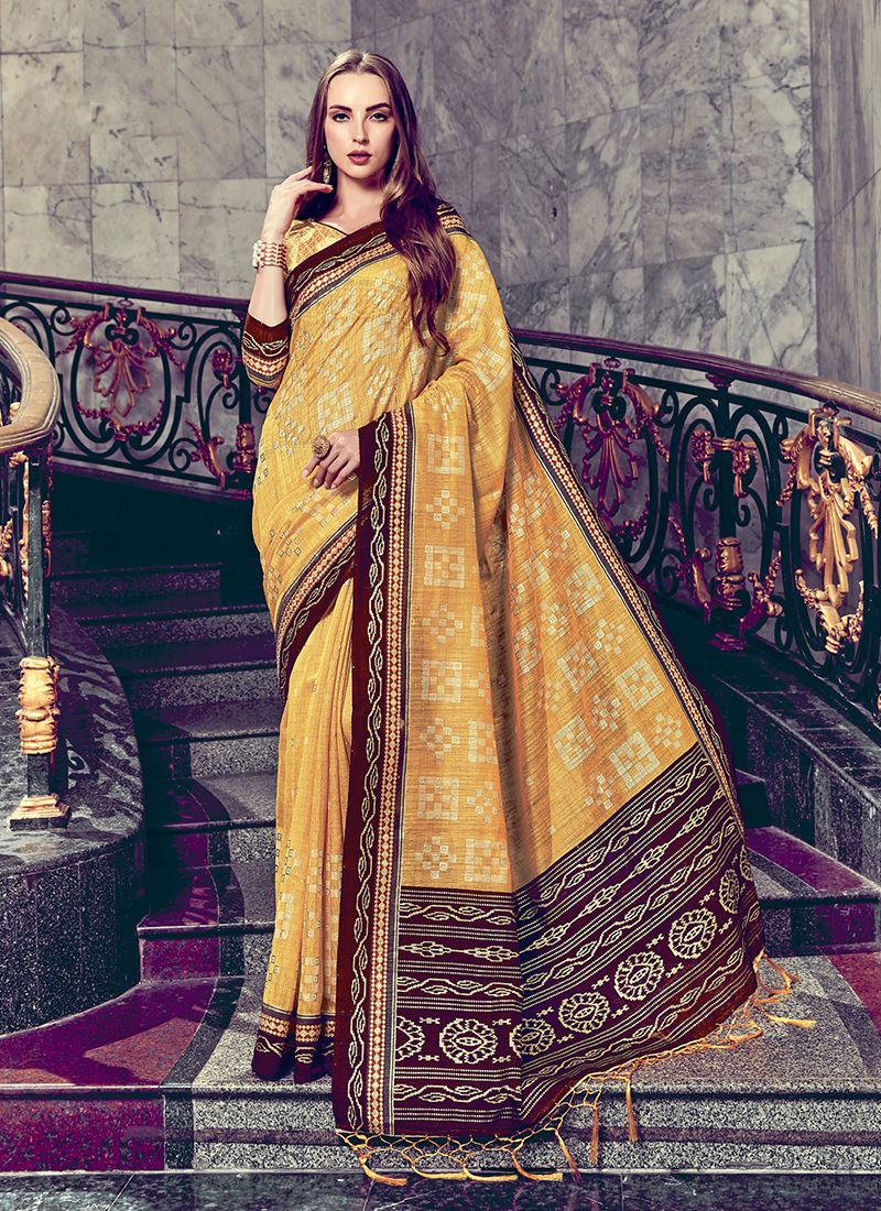 Art Silk Yellow Foil print Trendy Saree