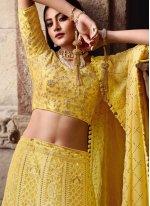 Art Silk Yellow Lace Lehenga Choli