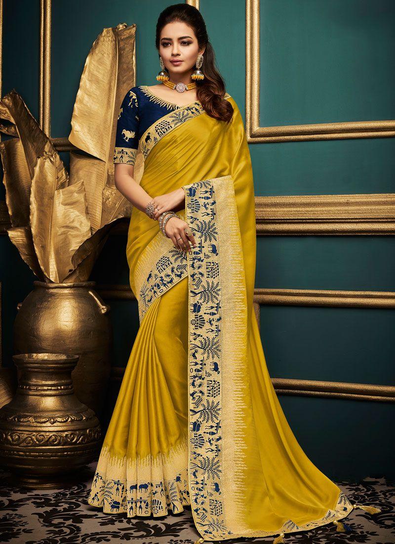 Art Silk Yellow Patch Border Designer Traditional Saree