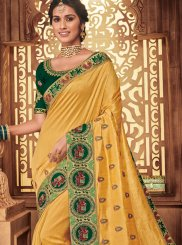 Art Silk Yellow Patch Border Traditional Designer Saree