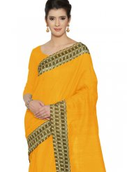 Art Silk Yellow Printed Casual Saree