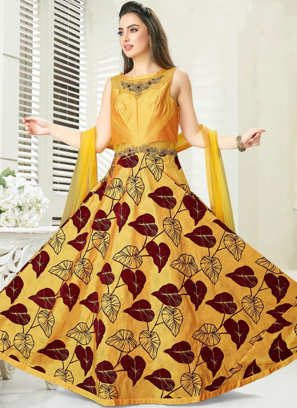 Art Silk Yellow Readymade Gown