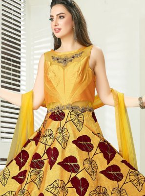 Art Silk Yellow Readymade Gown